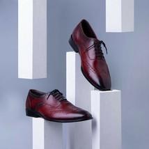 Handmade Men's Burgundy Color Wing Tip Dress/Formal Oxford Leather Shoes image 1