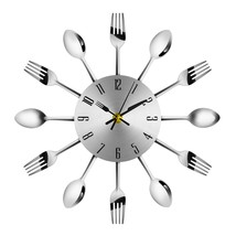 Novel Stainless Steel Knife Fork Spoon Analog Wall(SILVER) - $13.66