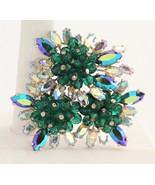 RARE 50's ELSA SCHIAPARELLI AB RHINESTONE & HAND BLOWN GLASS BEAD CLUSTE... - $425.00