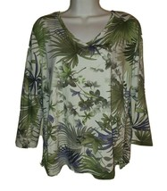 Caribbean Joe Green Floral Long sleeve Pullover V-neck Blouse Top Size XL - $15.84