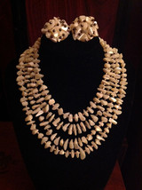 Vintage 4 Strand Japan 50's 60's Mother Of Pearl MOP Chip Choker Necklac... - $36.65
