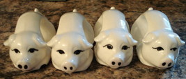 Napkin Ring Set White Pig Ceramic Country Farm Table-scape Collectible P... - $15.79