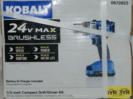 Kobalt 0672823 24v Max Brushless Compact Drill Driver Kit Cordless New in Box image 3