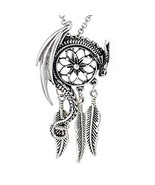 Paw Paw House Dragon Dream Catcher Pendant Necklace Norse Viking Snake O... - $14.92