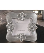 144 Silver Crystal Fleur De Lis Place Card Photo Frame Bridal Wedding Fa... - €109,04 EUR