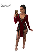 Sedrinuo Lace up Deep V neck Sexy Bodycon Long Sleeve Women Dress 2017 F... - $37.00