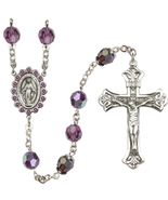 Rosary - Sterling Silver with 8mm Amethyst Swarovski Aurora Borealis Beads - $189.99
