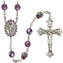 Rosary - Sterling Silver with 8mm Amethyst Swarovski Aurora Borealis Beads