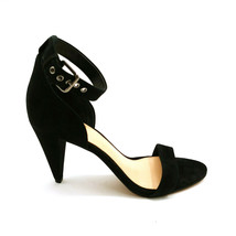 Vince Camuto Womens Cashane Suede Leather Sandals Cone Heel Black 8M New  - $59.39