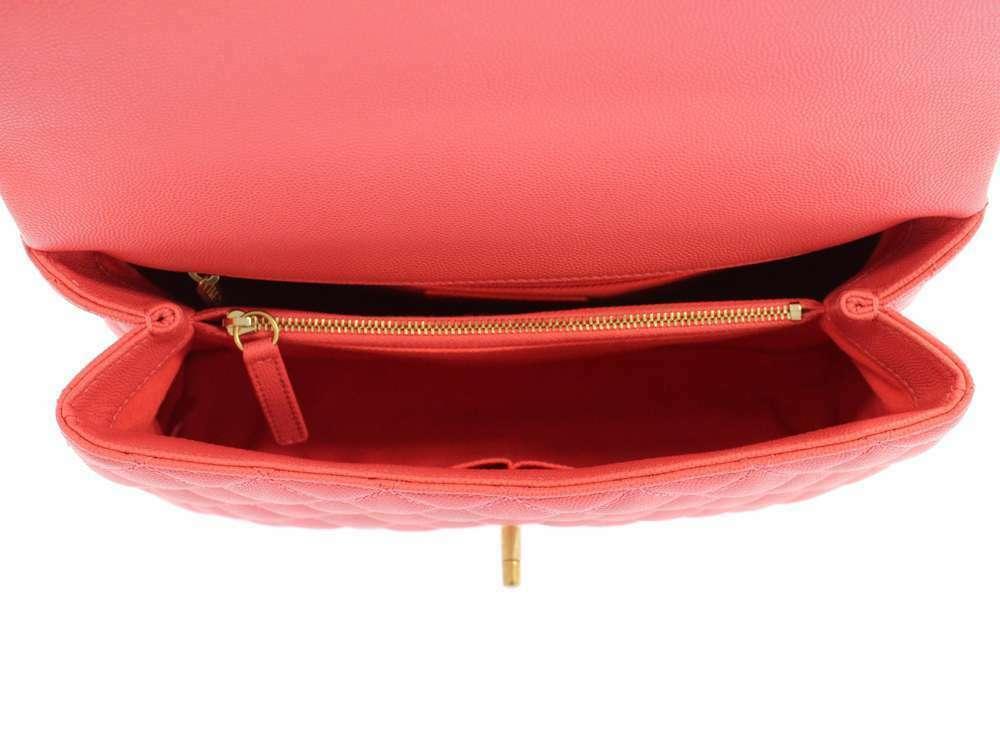 CHANEL Handbag Caviar Leather Salmon Pink CC Logo A92991 Italy Authentic 5500253 image 4