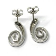 SOLID 18K WHITE GOLD PENDANT EARRINGS, SPIRAL, OVAL, PENDANT, MADE IN ITALY image 3