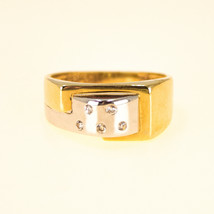 14k Yellow and White Gold Statement Ring With Diamonds UK Ring Size N BHS - $542.36