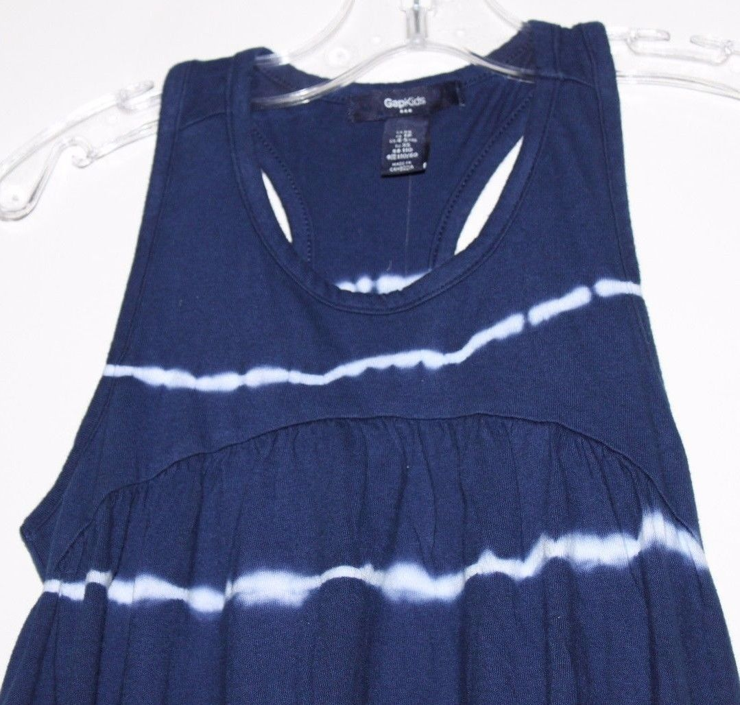 Gap Kids NWT Girl's Navy Blue Tie Dye Racer Back Maxi Dress Hi Lo Hem image 2