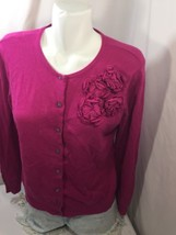 new york and company Women Blouse Stretch Slim Fit Hot Pink  Embroidered Size L - $16.83