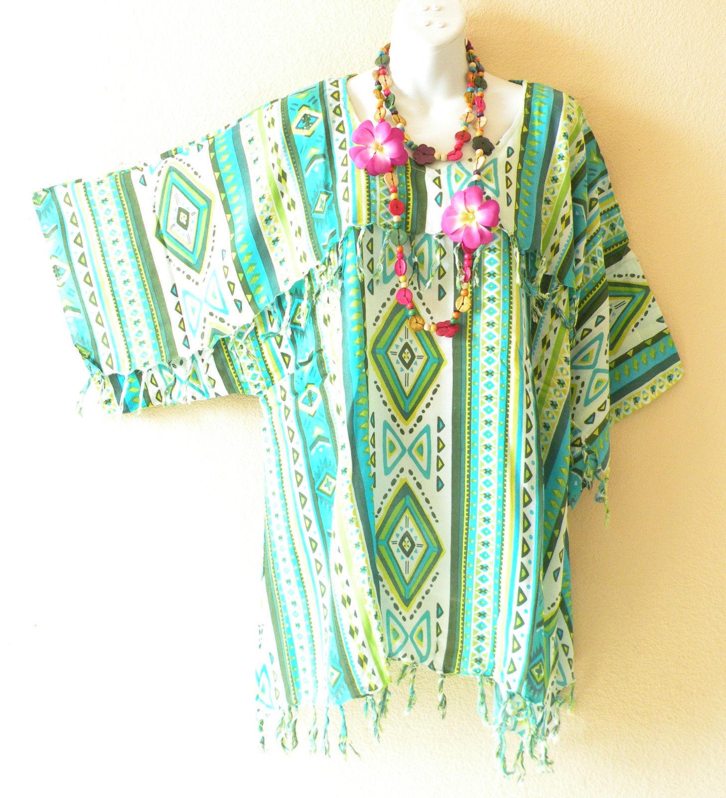 KB808 Green Caftan Poncho Kimono Tassel Tunic Fringe Blouse Top -L, XL, 1X & 2X