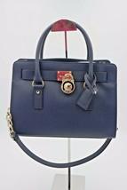 Michael Kors Hamilton Navy Blue Saffiano Leather East West Medium Satche... - $198.00