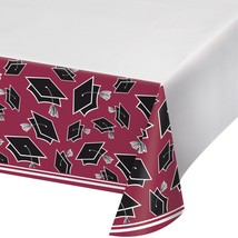 "School Spirit Burgundy 54"" x 102"" Plastic Tablecover, Case of 12 - £42.62 GBP"
