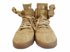 Women Tan Light Brown Suede Puma Size 8.5 Shoe Sneaker Athletic Casual High Top image 3
