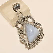 Natural Namibia Blue Lace Agate Pendant 925 Sterling Silver Bohemian Old... - $22.58