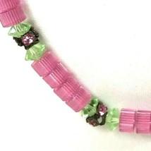 Vintage Pink Necklace Glass Beads Rhinestones - $29.69