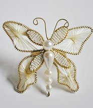 Set of 6 Christmas Butterfly Holiday Napkin Ring White Golden Thread - N... - $24.45