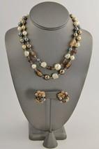 VINTAGE Jewelry RETRO JAPAN BROWN ART GLASS HAN... - $15.00