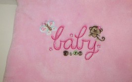 Just Born Pink Baby Girl Blanket Monkey Butterf... - $19.99