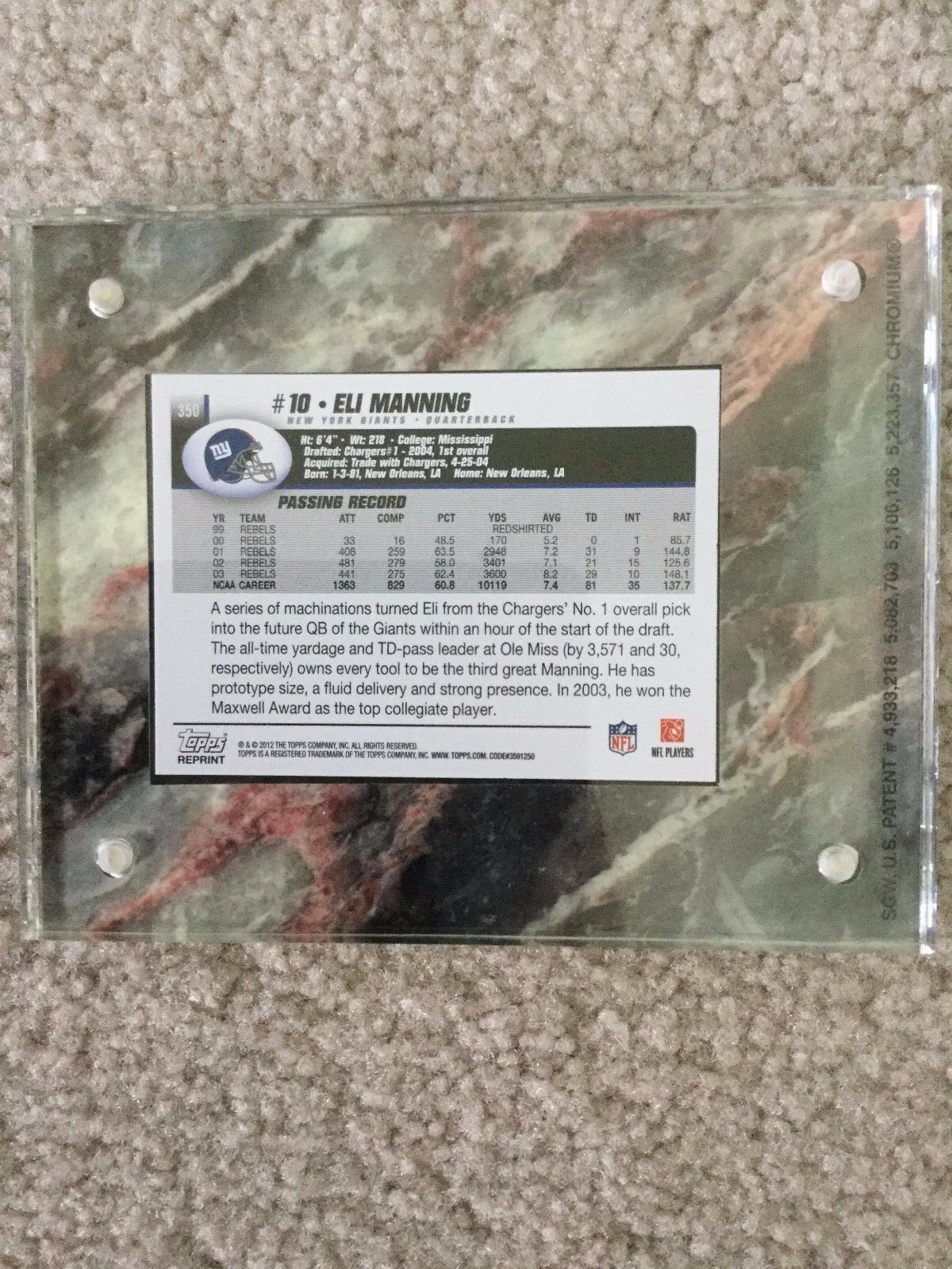 Eli Manning ROOKIE CARD (2004 Topps #350 REPRINT) 2012 Topps Football image 2
