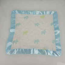 Aden + Anais Issie Security Blanket Lovey Muslin Cotton Satin Blue Green Hippos - $30.19