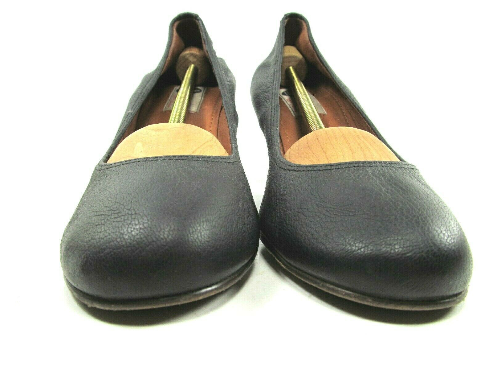 Lanvin Paris Womens Blacl Leather Round Toe Wedge High Heel Pumps Shoes US 10 image 5