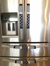 Refrigerator Door Handle Covers Set of 4 Navy Blue Chevron Moroccan  13L... - $25.98