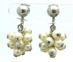Cream Faux Pearl Cluster Screw Back Silver Tone Earrings Vintage - $13.86