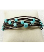 Lucky Brand Silver tone multi leather cord Turquoise Stone Bracelet  - $29.70