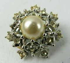 Vintage SARAH COV Clear Rhinestone Faux Pearl Flake Silver Tone Brooch Pin - $18.00