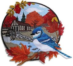 Custom And Unique Country Autumn Blue Jay And Mill Embroidered Iron on/S... - €23,86 EUR