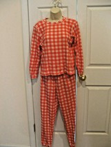 new/pkg frederick's of hollywood 2pc RED/WHITE  thermal top/pant  pj set... - $29.69