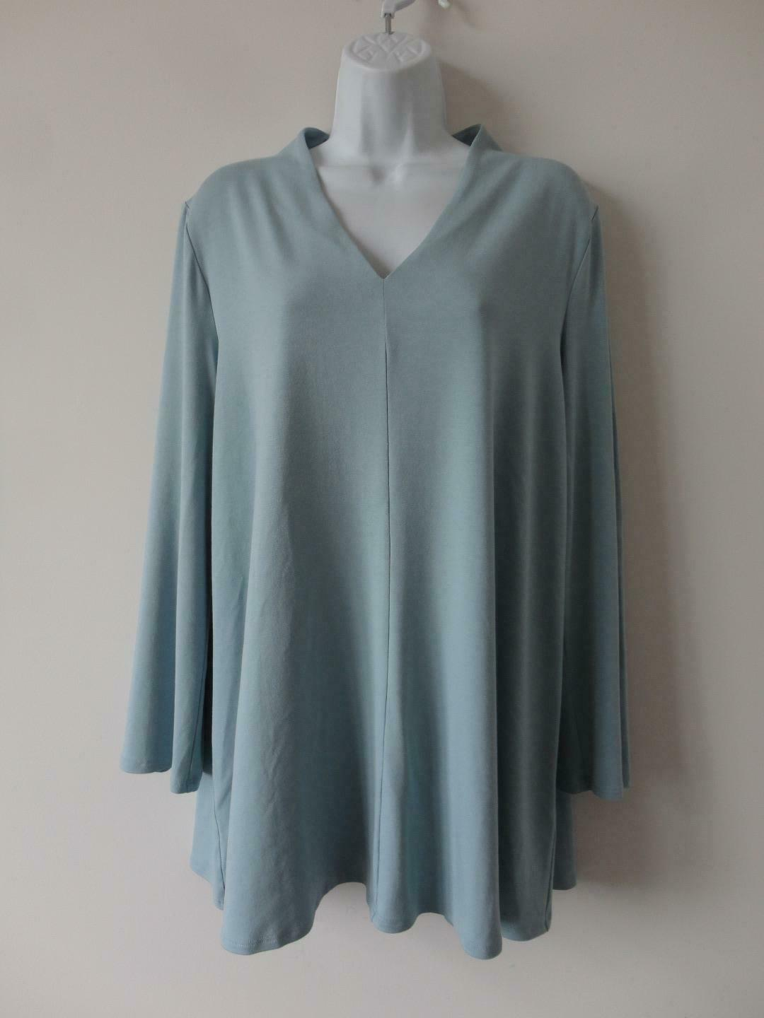 Primary image for NWT EILEEN FISHER Blue V Neck Viscose Jersey Long Sleeve Top Large