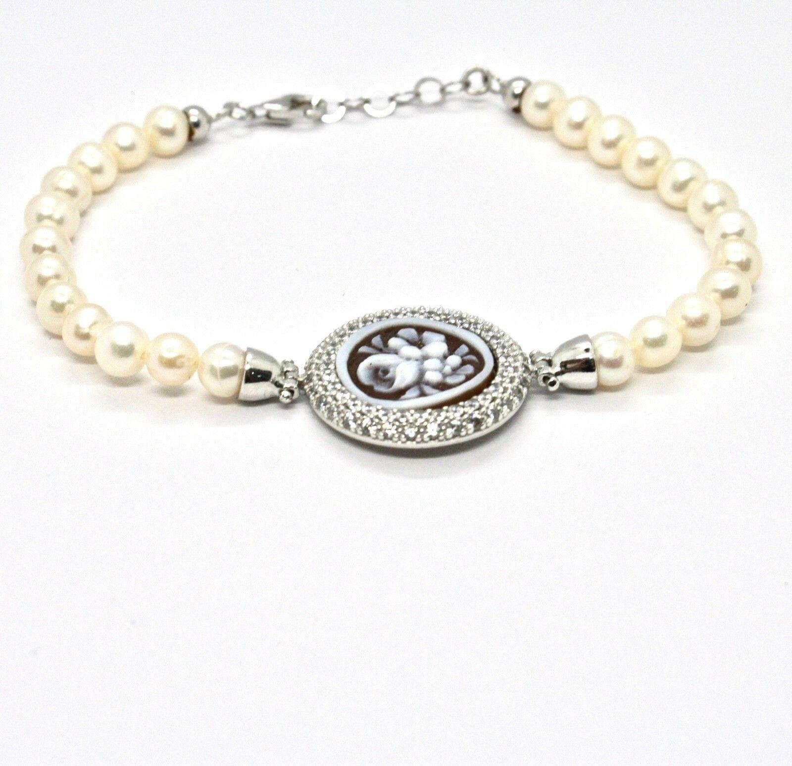 Armband 925 Silber mit Perlen Wasser Dolce Kamee Kamee Zirkonia Kubische image 2