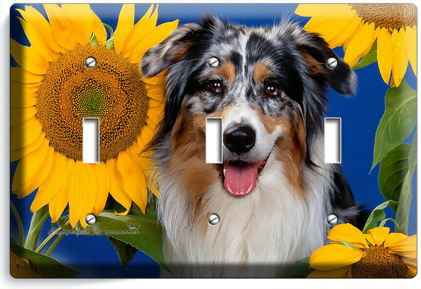 COLLIE DOG IN SUNFLOWERS LIGHT SWITCH 3 GANG WALL COVER GROOMING PET SALON DECOR