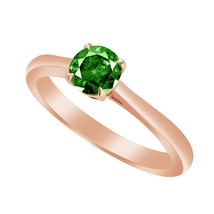 0.50 Ct Green Emerald 10k Rose Gold Over Solitaire Wedding Engagement Ring - $79.99