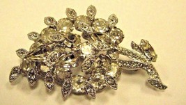 BROOCH marked EISENBERG cluster of clear sparkly RHINESTONES on BROOCH - $34.65