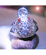 Haunted RING 7X ASIAN MONEY FROG SUCCESS MAGICK 925 WITCH FENG SHUI CASSIA4 - $59.77