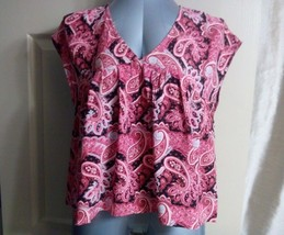 Express Women Blouse Size M Paisley Print Open Tie Back Top Shirt Babydo... - $22.88