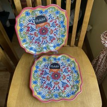 II MULINO Red Spanish Mediterranean Tile Melamine Square Dinner Plates S... - $24.75
