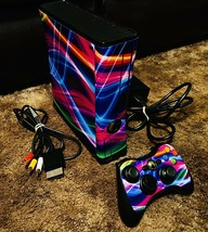 NEON CUSTOM Microsoft Xbox 360 Black Slim Console with Controller and Cords - $295.00