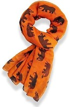 Gorgeous Grey Elephant Family Print Long Scarf Shawl Sarong (Orange) - $12.23