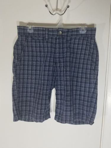 DKNY JEANS MEN'S PLAID GOLF SHORTS BLUE WHITE 100% COTTON EUC