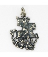 Silver 925 Pendant, Burnished and Satin, Knight & Dragon, Fairy Tale - $57.48