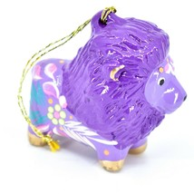 Handcrafted Painted Ceramic Purple Lion Confetti Ornament Made in Peru