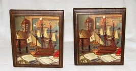Vintage Mid Century Nautical Maritime Boat Map Bookends Set
